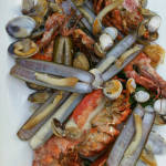 Attractive fruits de mer platter with lobster, razor clams and more