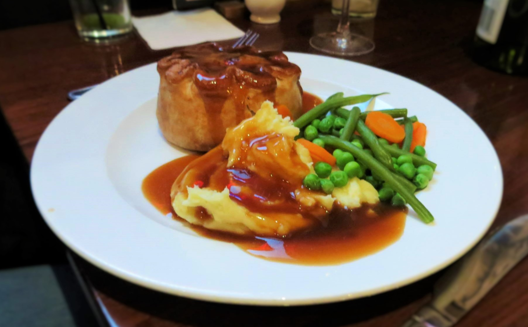 British Beef and Ale Pie with Worcestershire Sauce and Veggies